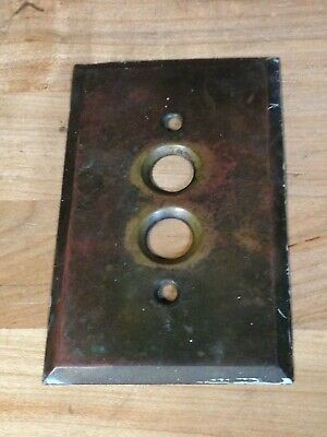 Antique Vintage Brass .025 Push Button Light Switch Plate Part