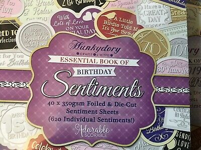Hunkydory Sentiments X 3 Books  Excellent Quality Over 1800 Embellishments