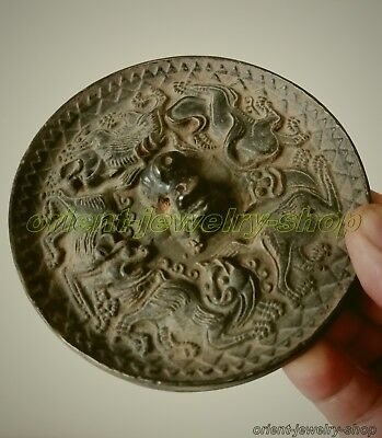 Archeological value Dynasty Old Chinese Bronze mirror Dragon animal Statue 115mm