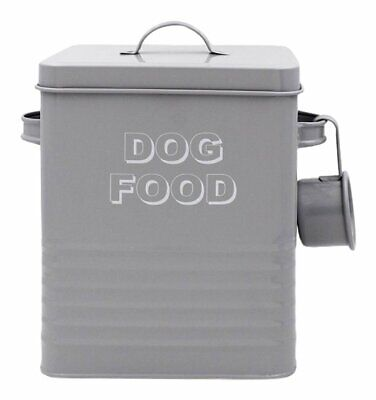 Grey Dog Food Metal Storage Box Tin With Scoop Ideal For Dry Food Biscuits