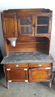 Antique Dry Sink Wash Stand Solid Wood Metal Top
