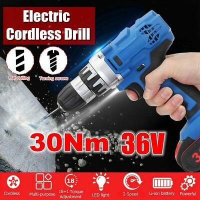 36V Li-Ion Battery Cordless Drill Double Speed 18+1 Driver LED Electric Tool Set