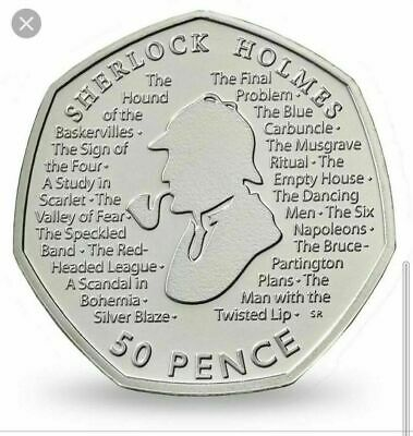 2019 Sherlock Holmes 50p Pence. Uncirculated from sealed coin bag. NEW.