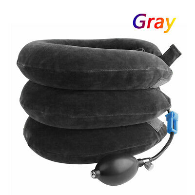 US Massager Neck Brace Support Cervical Collar Air Traction Therapy Device Gray