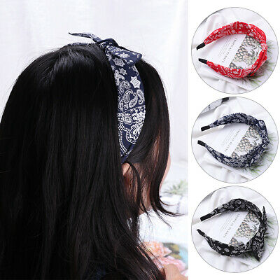 Vintage Floral Knotted Hair Band Wide Side Small Ear Headband Ladies Hairband~~