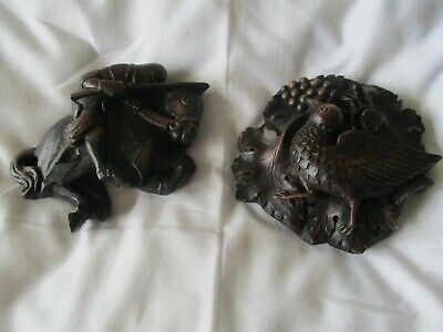 2 X Carved Wall Plaques Lincoln Cathedral Medieval Knight On Horse Bird In Tree