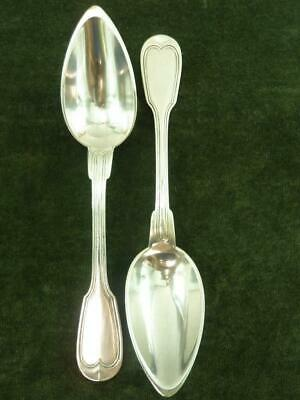 2 Nice antique Lambert French Serving Spoons silver plated Chinon Pattern