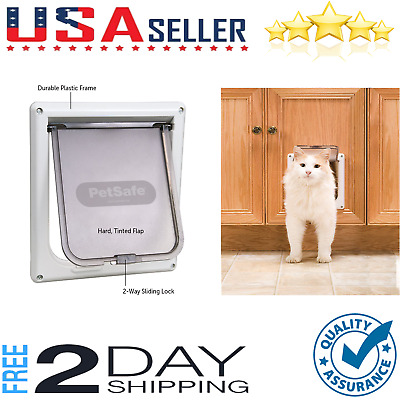 Interior 2-Way Locking Cat Flap Door Home Dog Entry Pet Exit Enter Tool