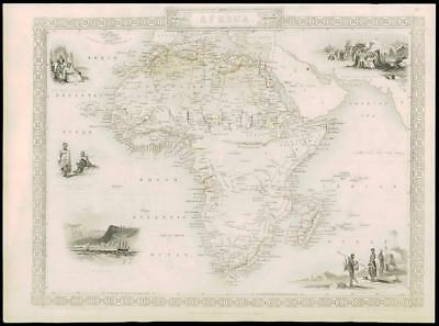 "1850 ""AFRICA"" Original Antique Map Tallis ST HELENA ALGERIA INDIAN OCEAN (DW1)"