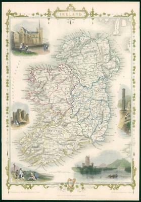 "1850 Original Illustrated Antique Map ""IRELAND"" by TALLIS - FULL COLOUR (TC7)"