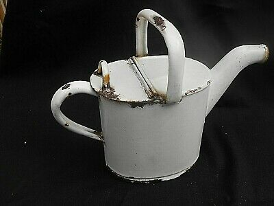 "Small Antique White Enamel ** WATERING CAN ** (Only 9"" High)"