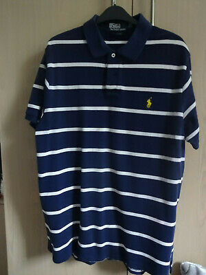 Mens Large And Lauren Navy Ralph 46in White Chest Size Polo Shirt Striped T zVGjSMUpqL
