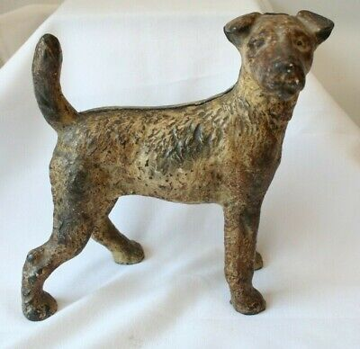Antique HUBLEY Wire Hair Fox Terrier Airedale Dog Door Stop Facing Right