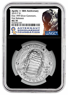 2019 P US Apollo 11 50th Astronaut Commem Silver Dollar NGC MS70 FR Blk SKU57201