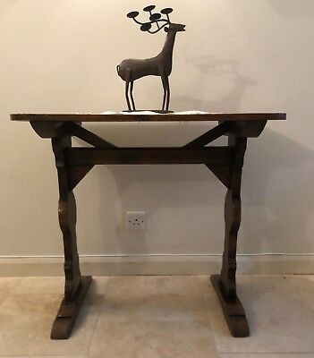 Antique Solid Oak Gothic Style Hall Occasional Table