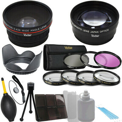 Vivitar 58mm Wide Angle, 2.2x Telephoto Lens Pro Kit for Canon 60D T1i 20D