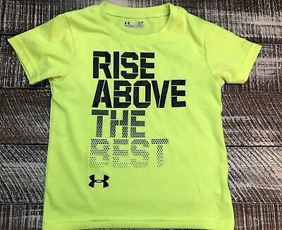 Boys Under Armour T Shirt Sz 2T Neon Yellow Heatgear