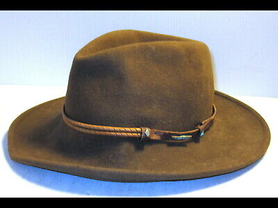 Vintage Brown Stetson Fedora Powderhorn Crushable 100% Wool Hat Indiana Jones