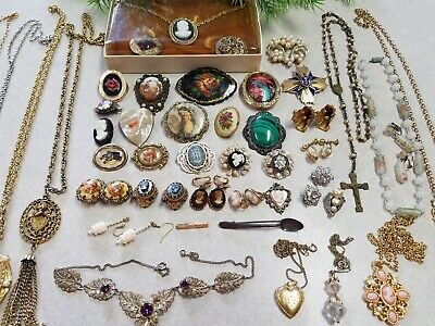 Vintage Victorian Art Deco Jewelry Lot *45 pcs* Cameos Lockets Necklaces Pins