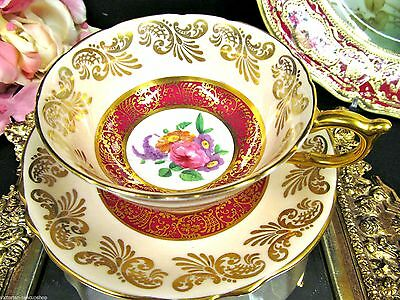 Paragon Tea Cup And Saucer  Peach & Red Floral Gold Gilt Teacup Wide Mouth