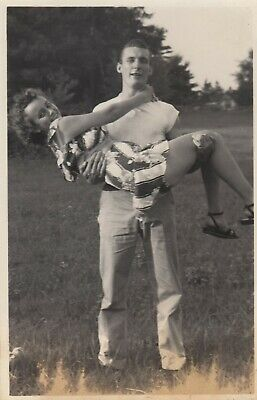 4832e6ca774 Vintage Photo Affectionate Guy Holding Girlfriend Romantic Couple 1950's  Greaser