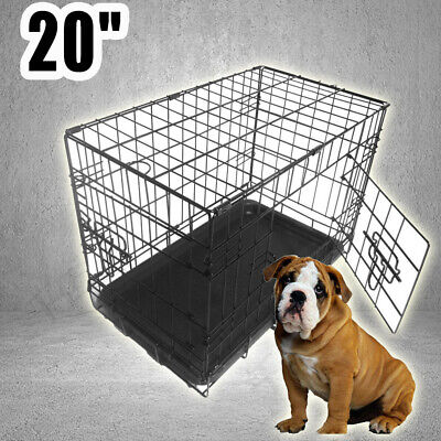 "20"" Foldable Dog Cat  Crate Metal Puppy Pet Cage Single Door Divider Handle"