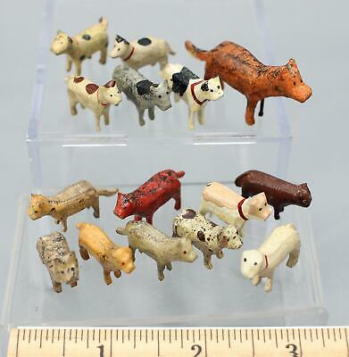 15 Antique Miniature German Putz Erzebirge HandPainted Carved Wood Cats and Dogs