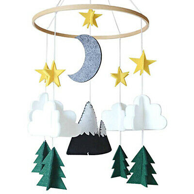 Baby Crib Mobile Handmade Felt Moon Clouds Stars Hanging Stroller Nursery Decor