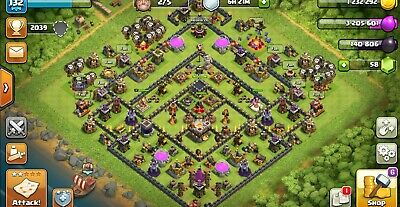 CLASH OF CLANS Town Hall 9-Level 95-7,234 GEMS- FAST