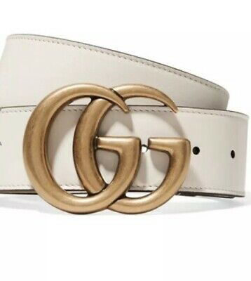 3afc05d42 GUCCI GUCCISSIMA GG Off White Leather Belt/Gold-Silver Tone Buckle ...
