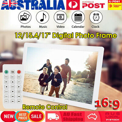 "12/15.4/17"" 16:10 Digital Photo Picture Frame Player Album Remote Alarm Clock"