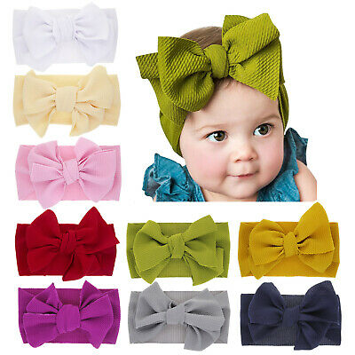 Baby Girls Toddlers Kids Solid Bow Turban Headband Hairbands Headwraps 12 Colors