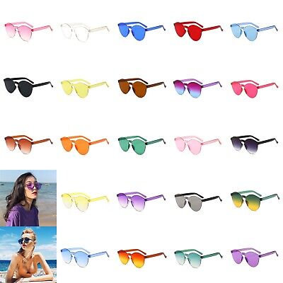 Women Men Clear Retro Sunglasses Outdoor Frameless Eyewear Glasses Candy Colored