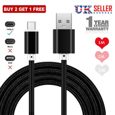 USB Type C Fast Charging Cable For Samsung Galaxy S8 S9 S10 1M 2M 3M Data Charge