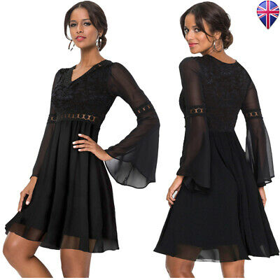Womens Party Lace Chiffon Flare Mini Skate Dress Bell Long Sleeve V Neck Solid