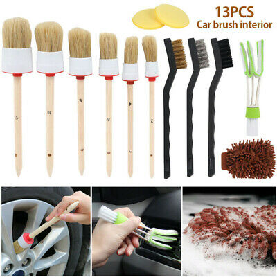 13pc Car Detailing Brush Kit Boar/Hair Vehicle Auto Interior For Wheel Clean Set