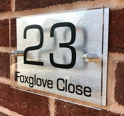 House Sign Plaques Door Sign Number Personalised Name Plate Aluminium Acrylic