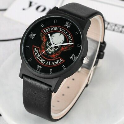 Quartz Watches Mens Leather Wrist Watch Stainless Steel Case Cool Skull Pattern