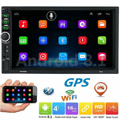 7'' Android 8.1 WiFi Double 2Din Car Radio Stereo GPS Navi Multimedia Player