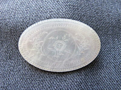 Antique Victorian Chinese Export Carved Mother of Pearl Gaming Counters Chip #A