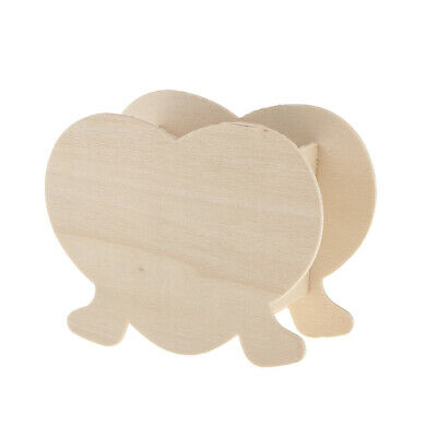 Heart Shape Unfinished Wood Pen Container Storage Wooden Box Kids DIY Crafts