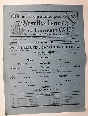 West Ham United v Charlton Athletic 1945 - 1946 football programme 19/1/1946