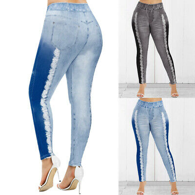 New: Damen Jeans-Look Hose Legging Leggings Leggins Jeggings Treggings Hosen new