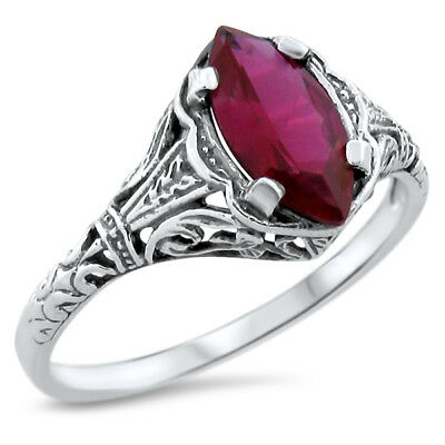 Red Lab Ruby Antique Art Deco Design 925 Sterling Silver Ring Size 5,       #625