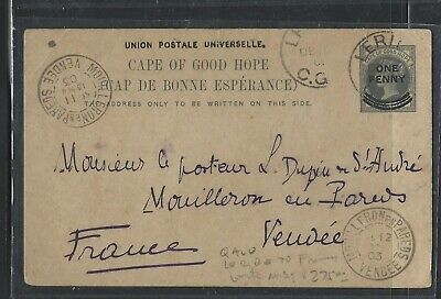 Bechuanaland  (Pp1405B)  1903 Cape Qv Psc From Leribe To France With Msg
