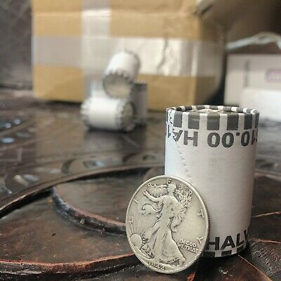 90% Silver Walking Liberty Coin + Unsearched Half Dollar Roll ($10) Lot Sale