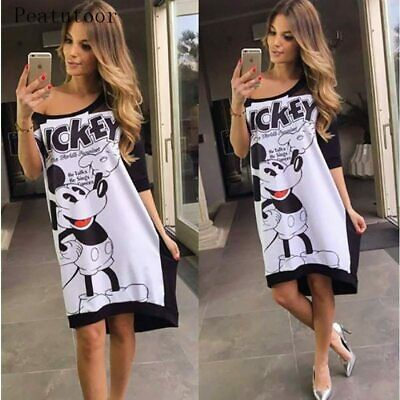 Autumn Dress Women Half Sleeve Mickey Mouse Off Shoulder Slash Neck Loose Female