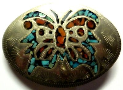 Vtg Southwestern Native American ? Signed Turquoise Belt Buckle Butterfly Inlaid