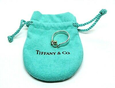 Vintage Tiffany & Co Sterling Silver 18K Gold Hook & Eye Buckle Band Ring Size 7