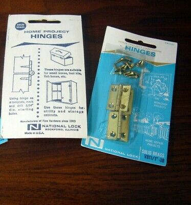 "Small Butt Narrow Hinges Vintage NOS 8 Brass 1"" Boxes Crafts National Lock"